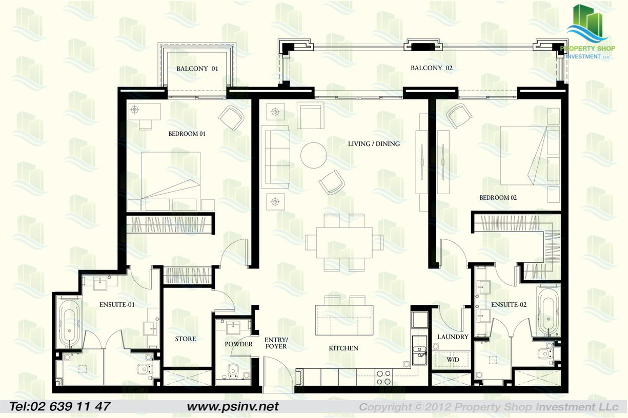 Floor plan of 2 bedroom apartment in st regis apartment for Four bedroom flat floor plan
