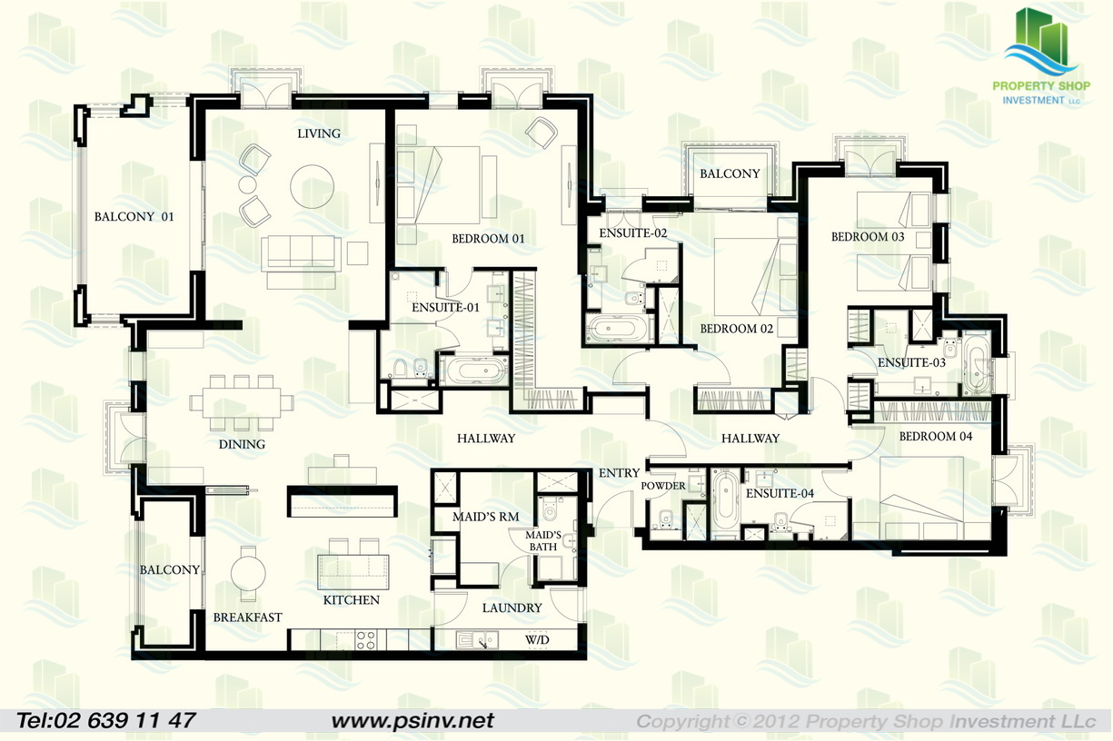 St regis apartments floor plans saadiyat island abu dhabi for Four bedroom floor plan
