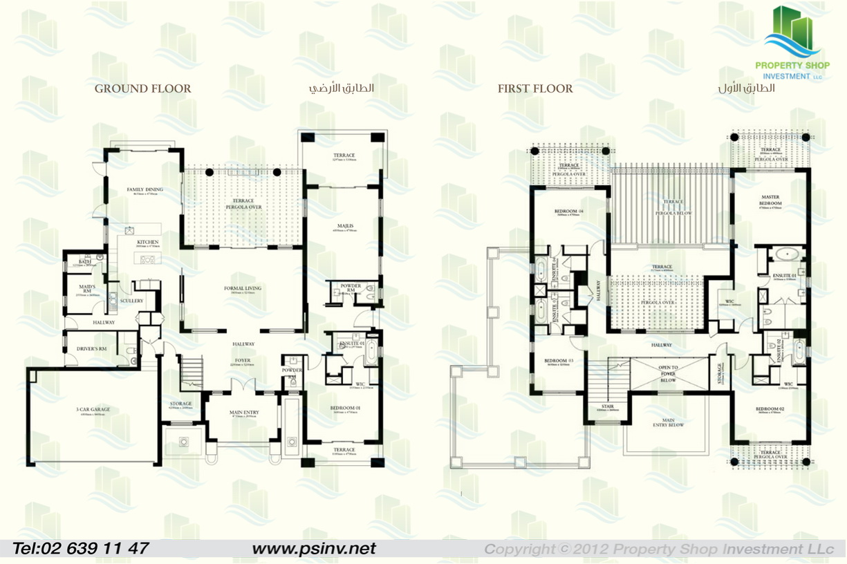 5 bedroom villa type b for Villa designs and floor plans
