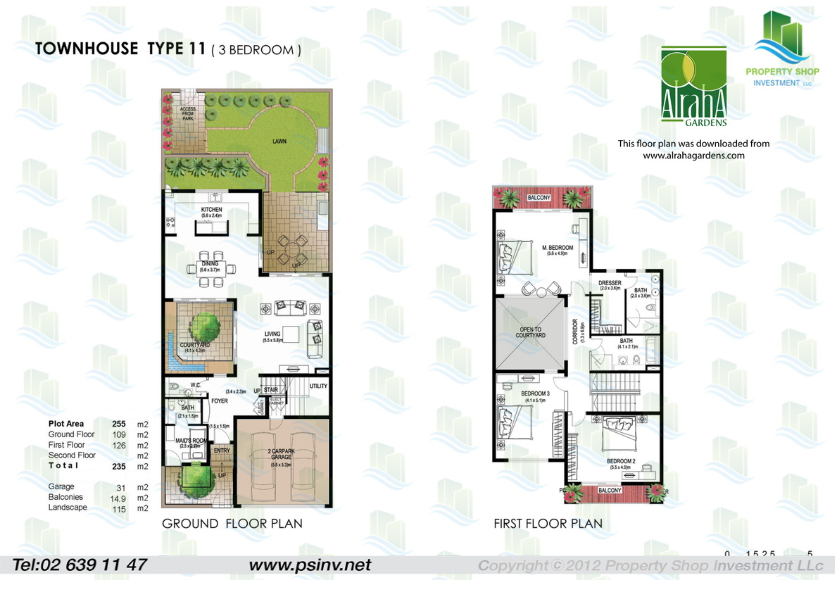 Floor plans yasmina al raha gardens 3 bedroom villa floor plans