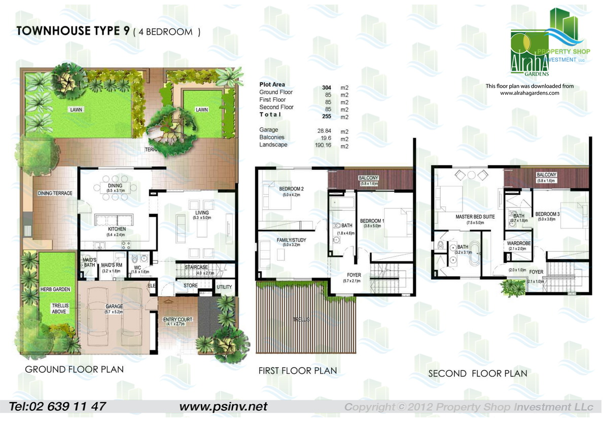 Floor plans yasmina al raha gardens for Townhouse plans