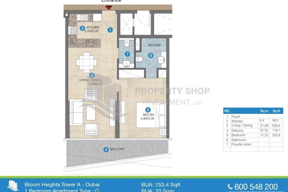 1 bedroom apartment for sale in bloom heights jumeirah for Floor plans jumeirah heights