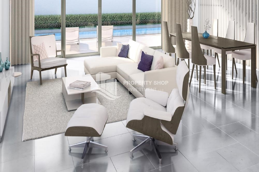 Living Room-Flexible payment options for offplan property in Yas Acres.