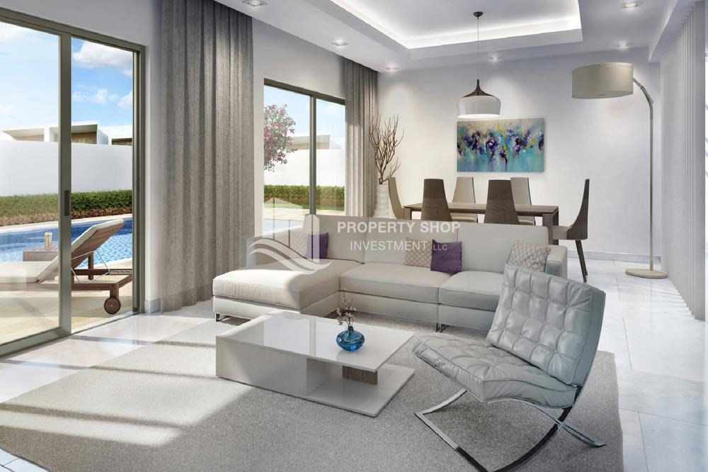 Living Room-Brand new community in Yas Island. Own a property now. Call PSI for details.